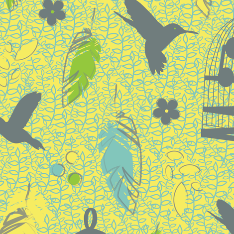 Hummingbird Heaven fabric by rosiesimons on Spoonflower - custom fabric