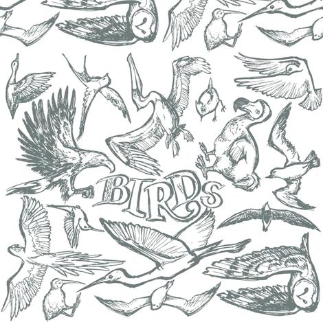 Birds Grey fabric by loeff on Spoonflower - custom fabric