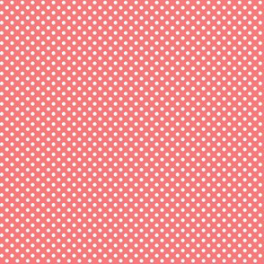 mini polka dots 2 coral and white
