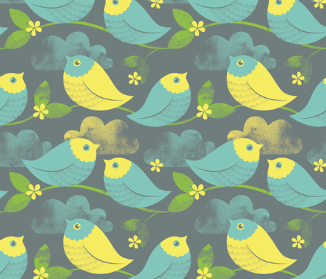 Birds in the Clouds fabric by anitakingsley on Spoonflower - custom fabric