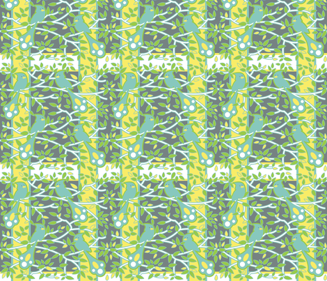 flights_of_fancy1_larger_birds_big_repeat_grey_bkgd_green_edge_plaid fabric by zinniagirl on Spoonflower - custom fabric