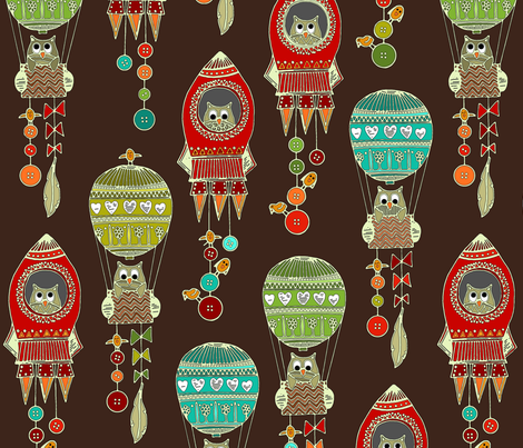 buttons to the moon chocolate fabric by scrummy on Spoonflower - custom fabric