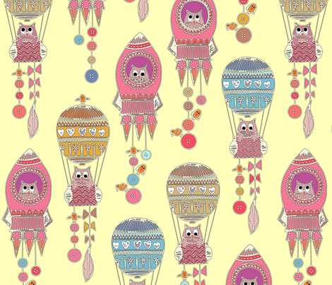 buttons to the moon vanilla fabric by scrummy on Spoonflower - custom fabric