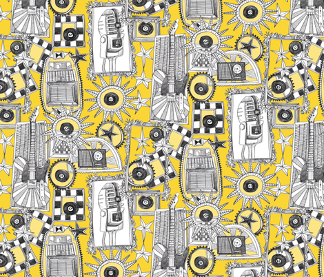 rock and roll yellow fabric by scrummy on Spoonflower - custom fabric