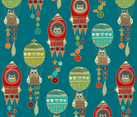 buttons to the moon teal fabric by scrummy on Spoonflower - custom fabric