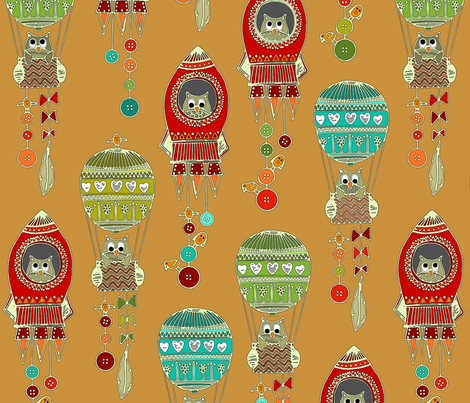 buttons to the moon toffee fabric by scrummy on Spoonflower - custom fabric
