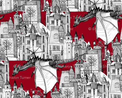 Dragon Kingdom Winter Toile red