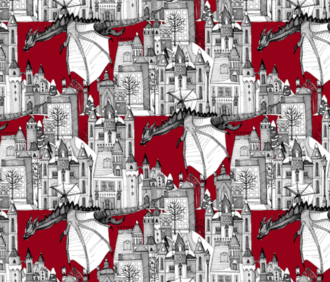 Dragon Kingdom Winter Toile red fabric by scrummy on Spoonflower - custom fabric