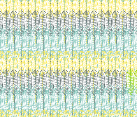 Tris Plumes - Lorito [please zoom ^_^] fabric by majobv on Spoonflower - custom fabric