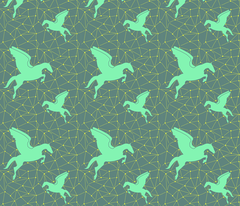 Flying Pegasus fabric by gillianmariel on Spoonflower - custom fabric