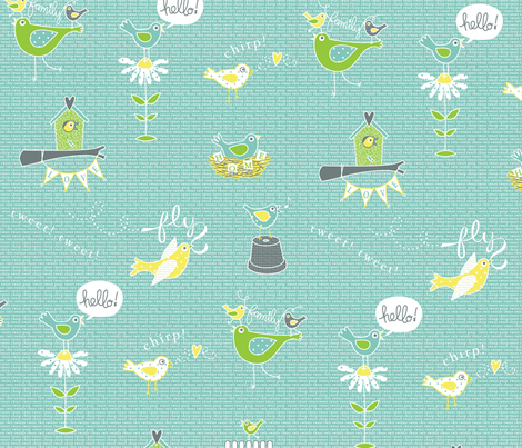 Wordy birds fabric by happysewlucky on Spoonflower - custom fabric