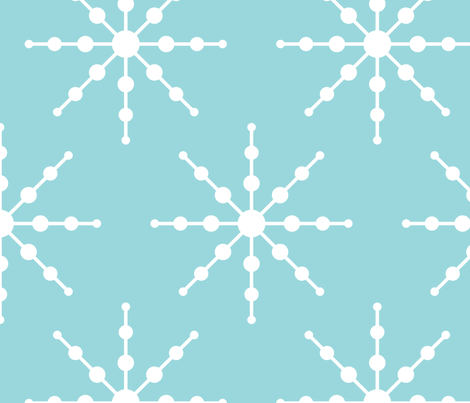 christmas snowflakes on blue XL fabric by misstiina on Spoonflower - custom fabric