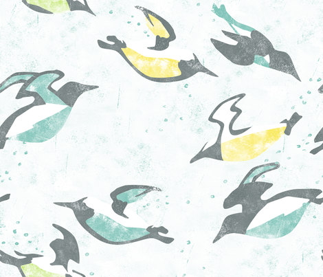 Underwater Flight -- Murres Swimming fabric by aldea on Spoonflower - custom fabric