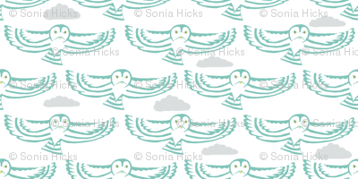 owl flight in teal with clouds