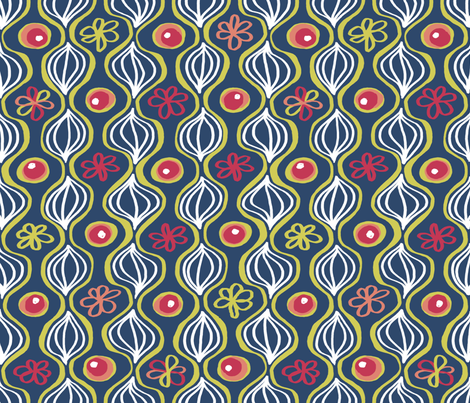 Matisse 4: With Onions.  Or are those leaves? In Blue. fabric by tallulahdahling on Spoonflower - custom fabric