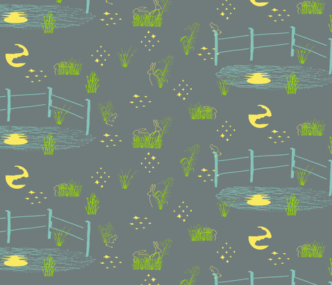 night life in grey and teal fabric by creative_merritt on Spoonflower - custom fabric