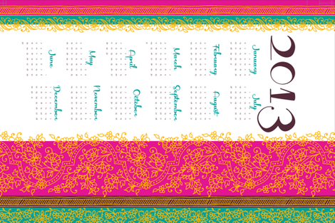 Bollywood Mehndi calendar fabric by monmeehan on Spoonflower - custom fabric
