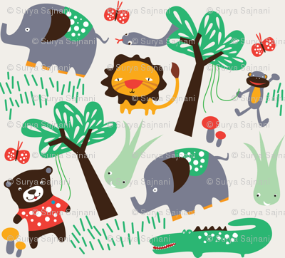 Jungle Animals on Natural
