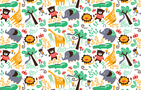 Animals in the Jungle with Giraffe on white