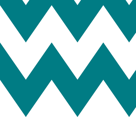 chevron xl dark teal and white fabric by misstiina on Spoonflower - custom fabric