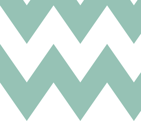 chevron xl faded teal and white fabric by misstiina on Spoonflower - custom fabric