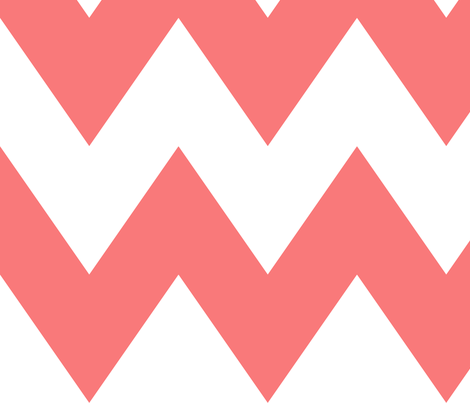 chevron xl coral and white fabric by misstiina on Spoonflower - custom fabric