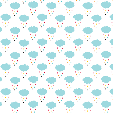 "sunny stormy clouds + rain drops 1"" fabric by misstiina on Spoonflower - custom fabric"