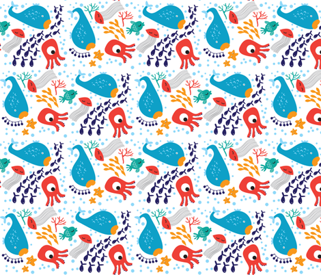Sea Animals on White fabric by suryasajnani on Spoonflower - custom fabric