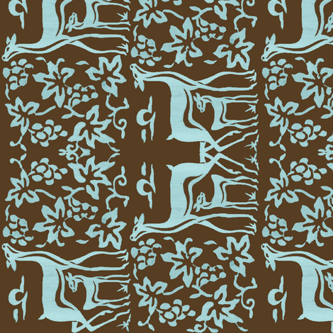 Arts&Crafts deer teatowel - seafoam on dkbrown-30 fabric by mina on Spoonflower - custom fabric