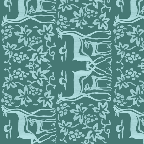 Arts&Crafts deer teatowel - seafoam on dk bluegreen-175 fabric by mina on Spoonflower - custom fabric