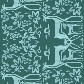 Arts&amp;Crafts deer teatowel - seafoam on dk bluegreen-175