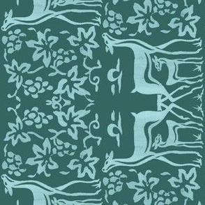 Arts&Crafts deer teatowel - seafoam on dk bluegreen-175