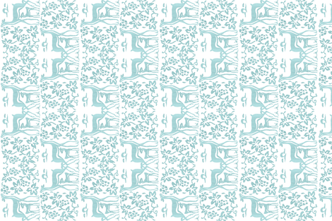 Arts&Crafts deer teatowel - seafoam on white fabric by mina on Spoonflower - custom fabric