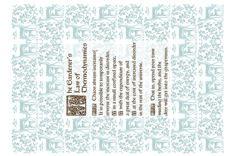 Gardeners Law of Thermodynamics teatowel - sepia text on seafoam