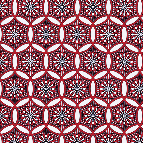 Shashiko Circle Deco Red fabric by keweenawchris on Spoonflower - custom fabric
