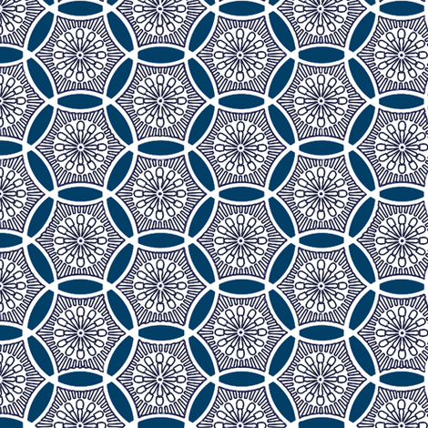Shashiko Circle Deco Blue fabric by keweenawchris on Spoonflower - custom fabric