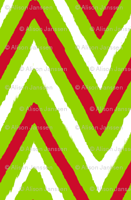 Christmas Chevron red+green