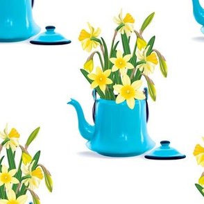 Vintage Tin Kettle With Daffodils