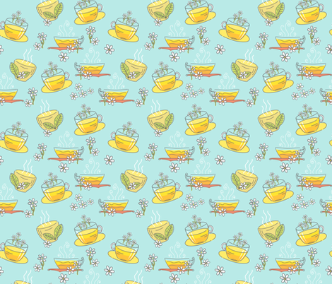 Cute Doodled Herbal Teacups fabric by diane555 on Spoonflower - custom fabric