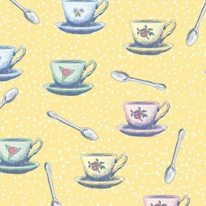 Cute Sketchy Teacups & Spoons