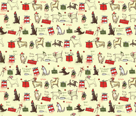 Christmas Dog fabric by ceci_bowman on Spoonflower - custom fabric