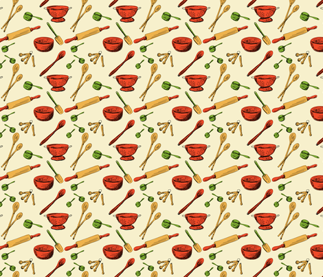 Retro Kitchen Gadgets Pattern fabric by diane555 on Spoonflower - custom fabric
