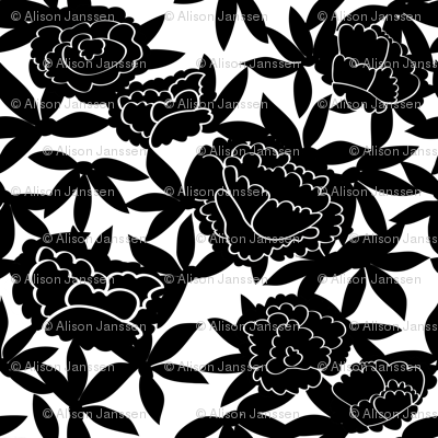 Black & White Asian Floral