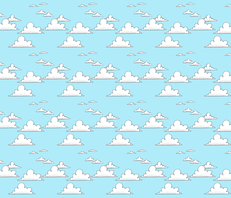 Puffy Clouds fabric by miraculousmosquito on Spoonflower - custom fabric