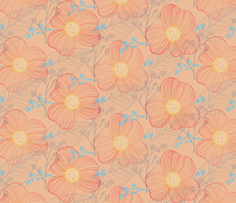 Hand Drawn Flora in Orange fabric by raindrop on Spoonflower - custom fabric