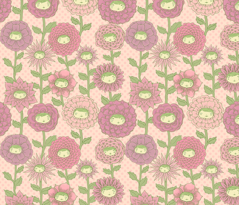 Talking Garden: Darling fabric by beeskneesindustries on Spoonflower - custom fabric