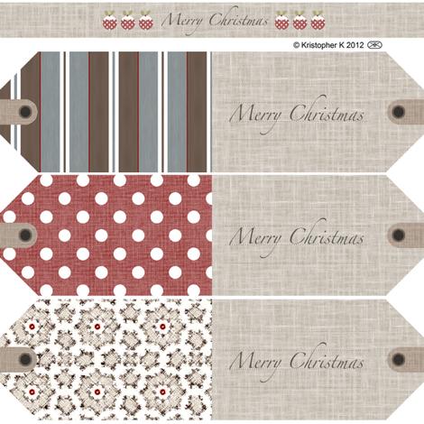 Vintage Christmas Gift Tags fabric by kristopherk on Spoonflower - custom fabric