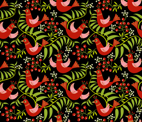 Birds, Berries and Blooms ~ Christmas Eve fabric by retrorudolphs on Spoonflower - custom fabric