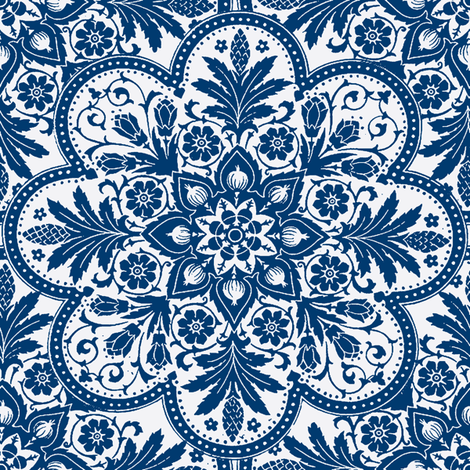 Bombay Blue & White & Bright fabric by peacoquettedesigns on Spoonflower - custom fabric