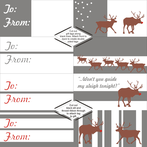 Mod Reindeer Gift Tags fabric by smuk on Spoonflower - custom fabric